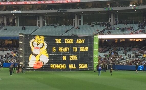 2015 Carlton v Richmond Tiger banner slogan
